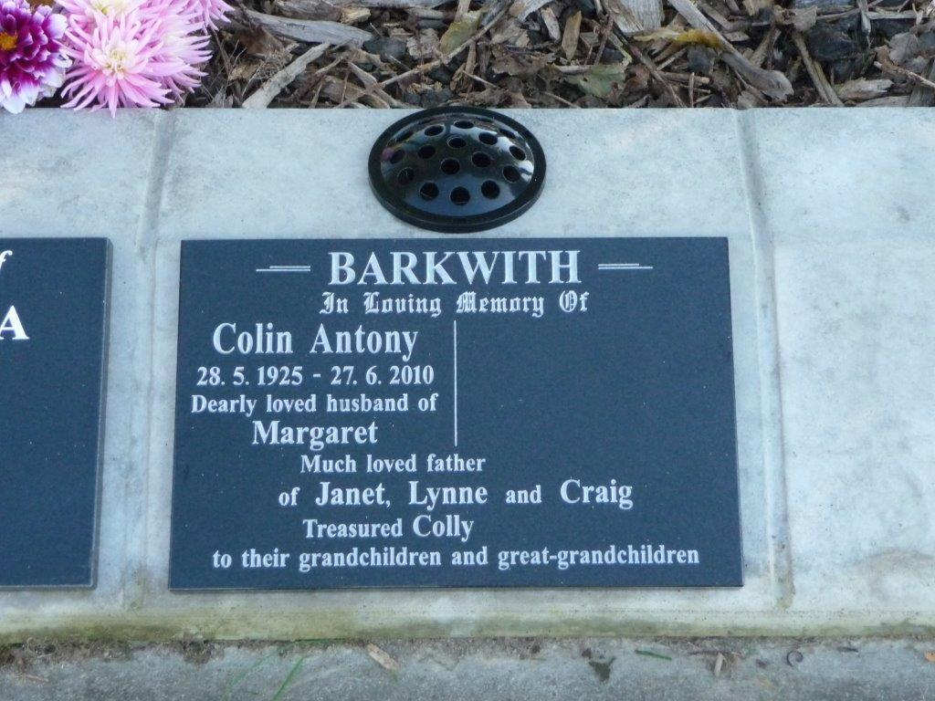 Barkwith lawn plaque