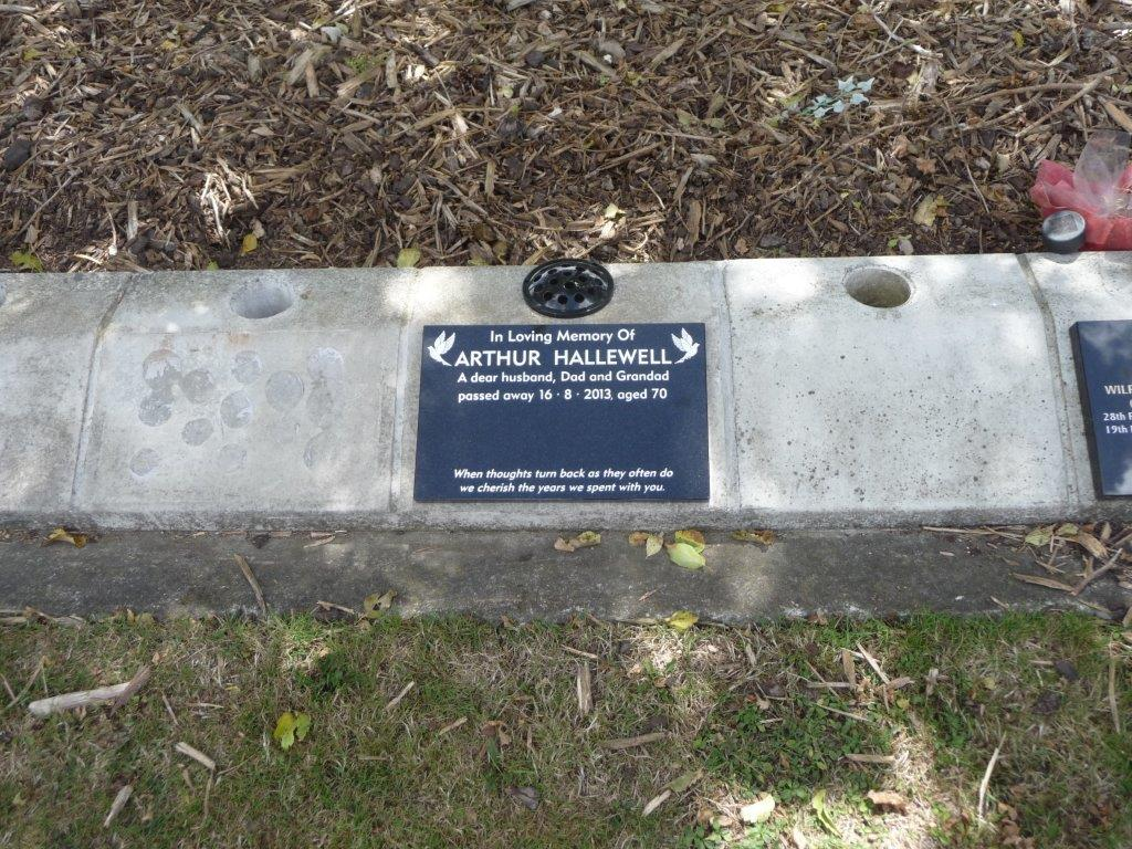 Hallewell lawn plaque